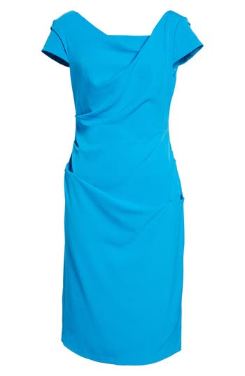 Adrianna Papell Ruched Matte Stretch Crepe Sheath Dress, Blue