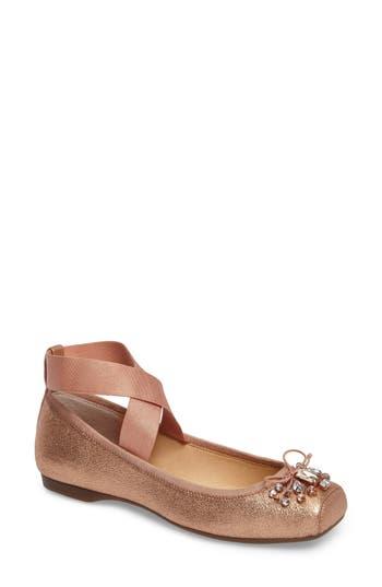 Jessica Simpson Miaha Embellished Blunt Toe Flat, Brown