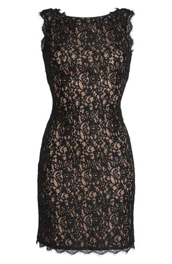 Adrianna Papell Boatneck Lace Sheath Dress, Black