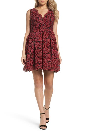 Nsr Lace Fit & Flare Dress, Red