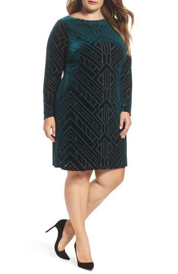 Plus Size Vince Camuto Burnout Velvet Sheath Dress, Green