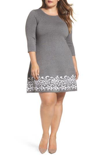Plus Size Eliza J A-Line Sweater Dress, Grey