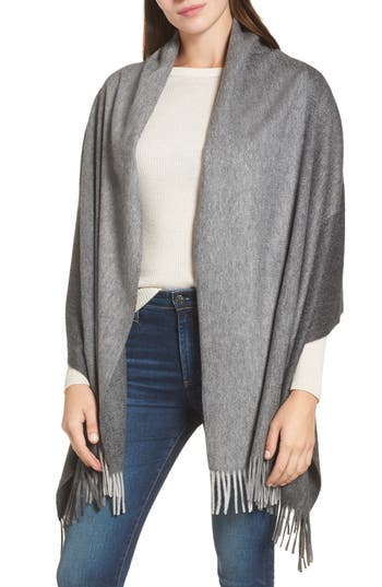 Women's Nordstrom Collection Tricolor Cashmere Wrap, Size One Size - Grey