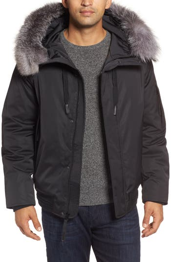 Andrew Marc Bomber Jacket With Genuine Fox Fur Trim, Black