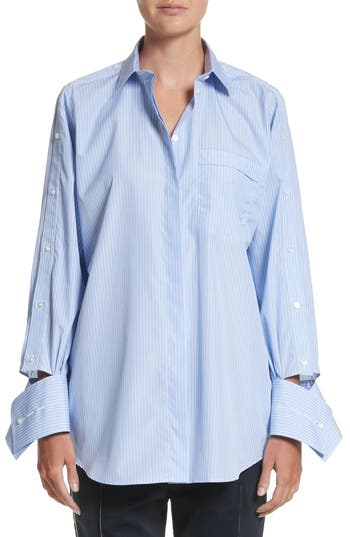 Women's Valentino Cutaway Sleeve Cotton Poplin Shirt, Size 2 US / 38 IT - Blue