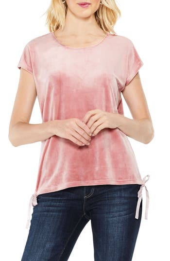 Vince Camuto Side Tie Velour Top, Pink