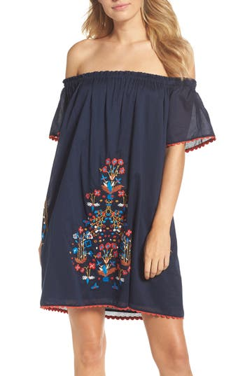 Tory Burch Wildflower Embroidered Off The Shoulder Cover-Up Dress, Blue