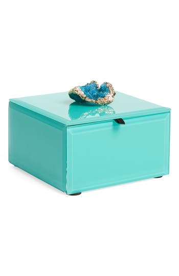 American Atelier Peacock Agate Jewelry Box - Blue/green