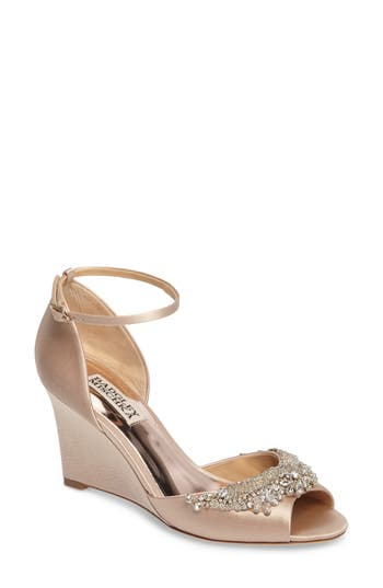 Badgley Mischka Malorie Embellished Sandal- Beige