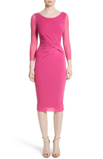 Fuzzi Ruched Tulle Dress, Pink