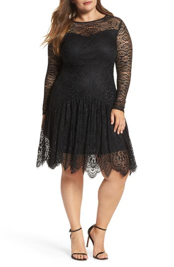 Plus Size Lost Ink Lace A-Line Dress, Black