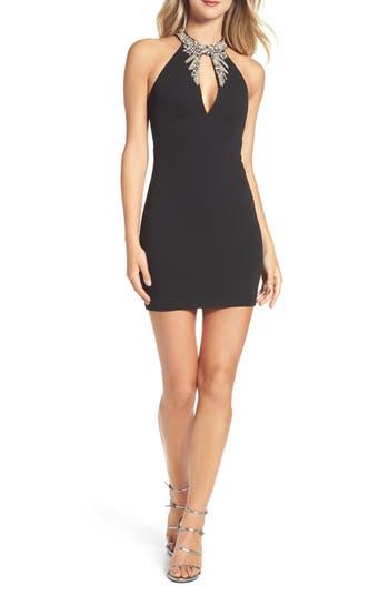 Lulus Alluring Evening Beaded Body-Con Dress, Black