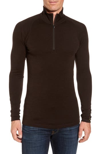 Smartwool Merino 250 Base Layer Quarter Zip Pullover, Brown