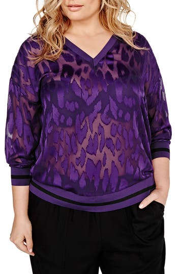 Plus Size Women's Addition Elle Love And Legend Sheer Leopard High/low Blouse, Size 12W - Purple