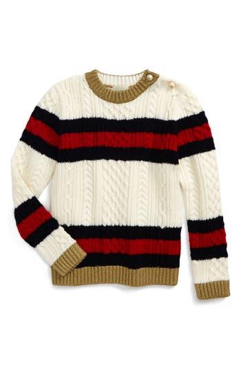 Girl's Gucci Wool Stripe Sweater, Size 8 - White