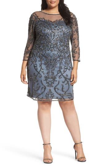 Plus Size Pisarro Nights Illusion Sleeve Beaded Sheath Dress, Blue