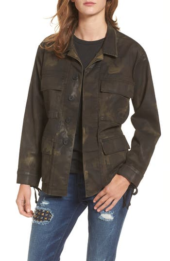 Women's True Religion Brand Jeans Coated Military Jacket, Size X-Small - Green