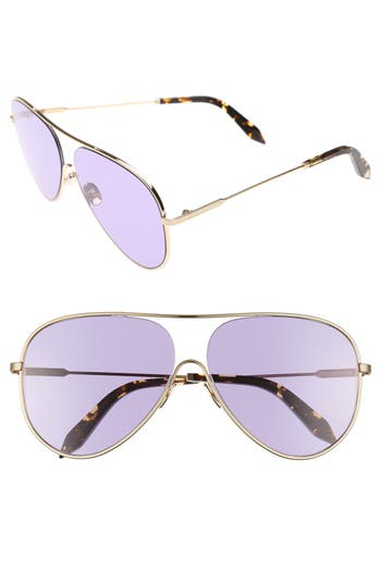 Victoria Beckham Loop 62Mm Oversize Aviator Sunglasses - Rose Bleu