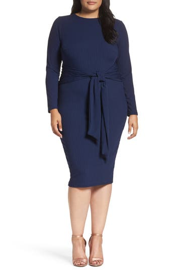 Plus Size Lost Ink Tie Front Ribbed Sheath Dress, Blue