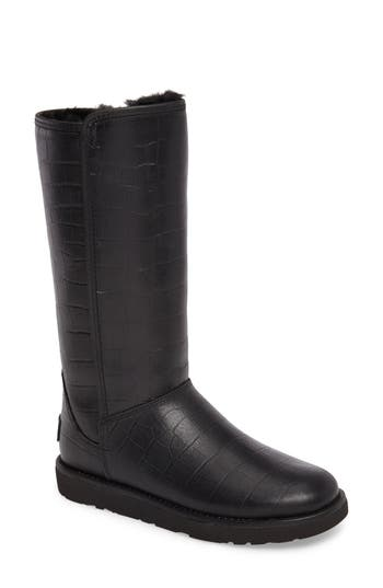 Ugg Abree Ii Croc Embossed Boot, Black
