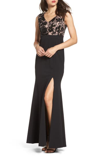 Adrianna Papell Lace Bodice Mermaid Gown, Black