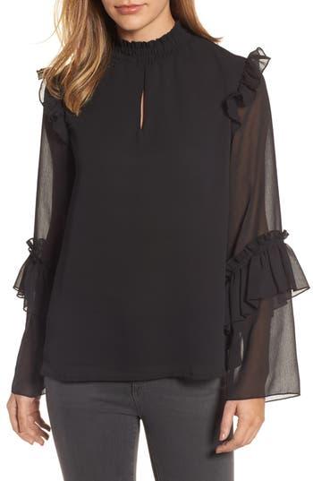 Women's Bobeau Ruffle Sleeve Blouse, Size X-Small - Black