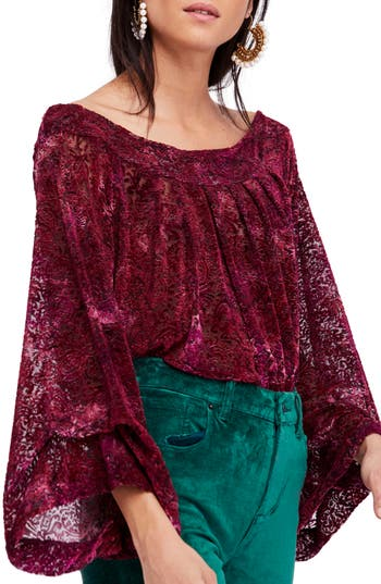 Women's Free People Ginger Berry Off The Shoulder Velvet Top, Size X-Small - Burgundy