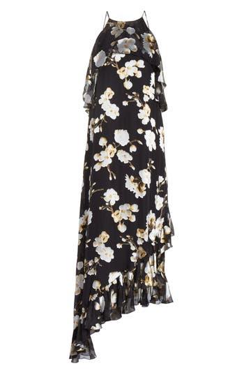 Alice + Olivia Fabiola Asymmetrical Ruffle A-Line Dress, Black
