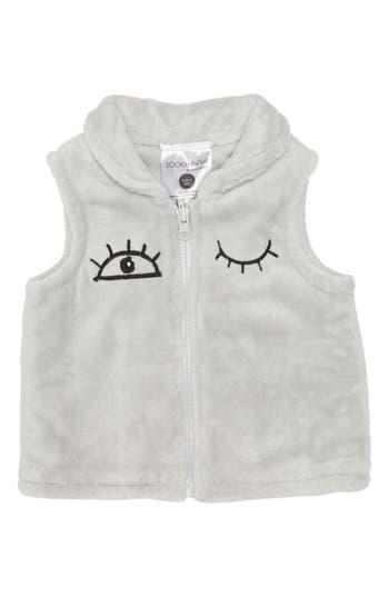 Infant Girl's Sookibaby I Love You Fleece Vest, Size S (6-12m) - Grey