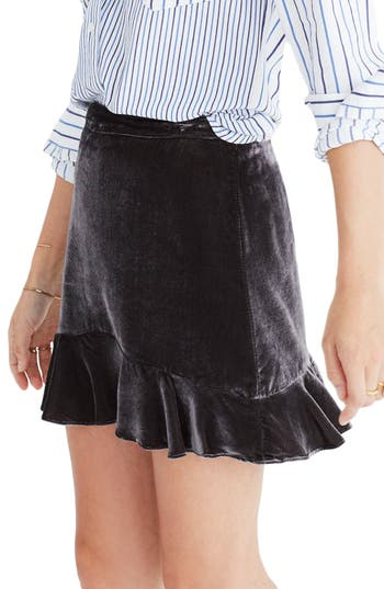 Madewell Ruffle Edge Velvet Skirt, Grey