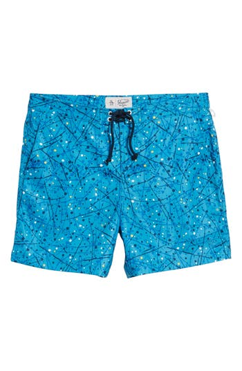 Original Penguin Splatter Paint Swim Trunks, Blue