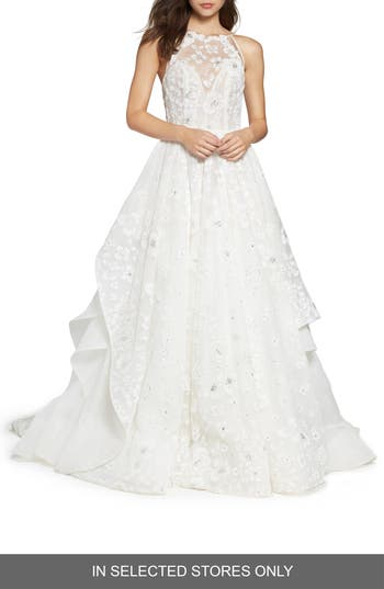 Hayley Paige Reagan Floral Embroidered Layered Ballgown, Size IN STORE ONLY - Ivory