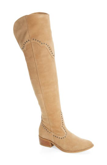 Matisse Studded Western Over The Knee Boot- Beige