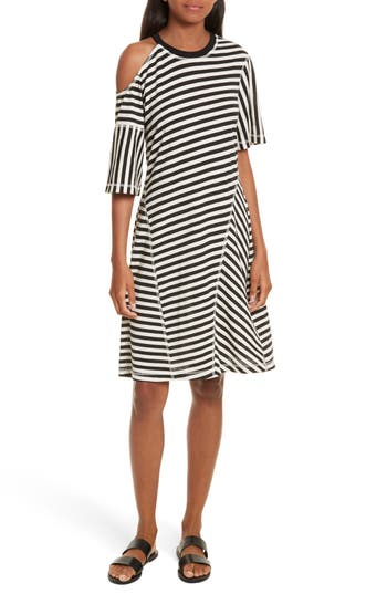 Grey Jason Wu Stripe Jersey Cold Shoulder Dress, Black