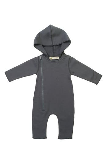 Infant Boys Monica  Andy Moto Zip Hooded Romper