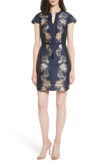 Ted Baker London Tzalla Sculpted Stardust Jacquard Dress, Blue