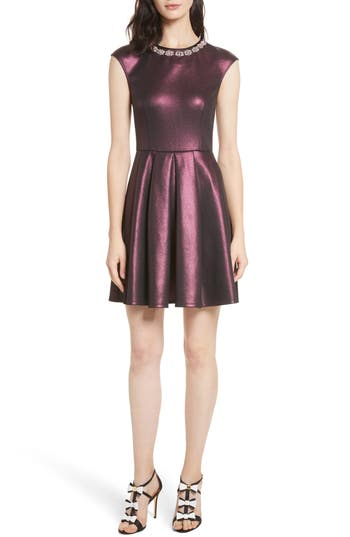 Ted Baker London Ayma Embellished Metallic Fit & Flare Dress, Red