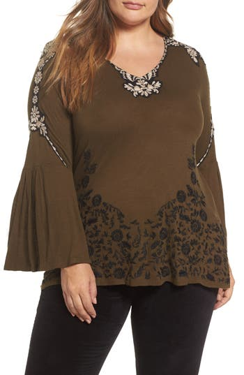 Plus Size Women's Lucky Brand Embroidered Bell Sleeve Top, Size 3X - Green