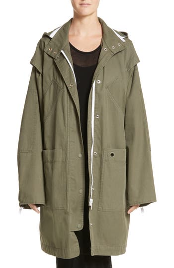 Women's Proenza Schouler Pswl Convertible Washed Cotton Military Coat, Size X-Small - Green