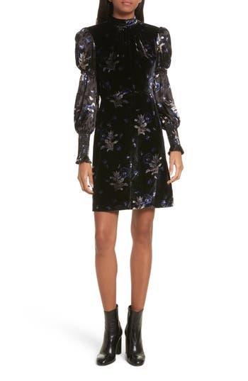 Rebecca Taylor Violet Velvet Sheath Dress, Black
