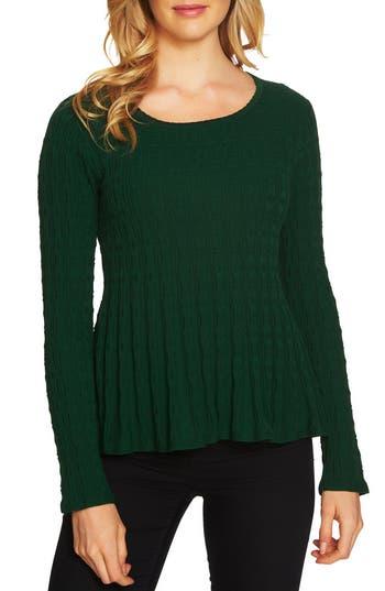 Women's Cece Textured Peplum Sweater, Size XX-Small - Green