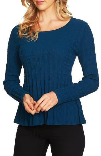 Women's Cece Textured Peplum Sweater, Size X-Small - Blue