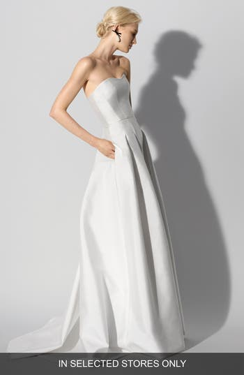 Carolina Herrera Fabel Strapless Silk Mikado Gown, Size IN STORE ONLY - White