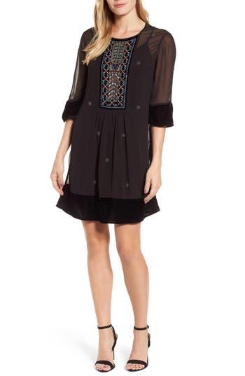 Velvet By Graham & Spencer Beaded Velvet Georgette Dress, Black