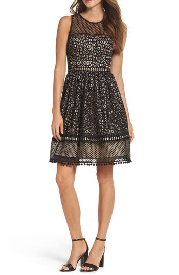 Eliza J Lace Fit & Flare Dress, Black