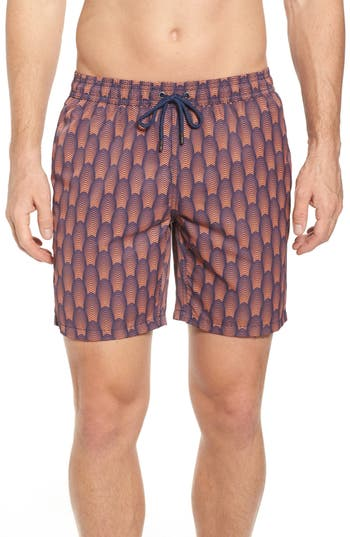 Mr. Swim Deco Print Swim Trunks, Blue