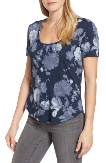 Lucky Brand Floral Print Tee, Blue