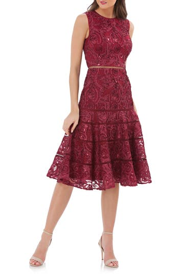 Carmen Marc Valvo Infusion Soutache Fit & Flare Dress, Red