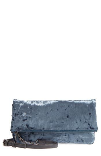 Sole Society Velvet Foldover Clutch - Grey