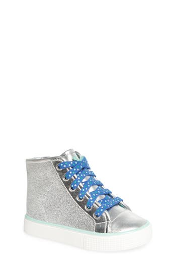 Girls Welliewishers From American Girl Camille Glitter High Top Sneaker Size 1 M  Metallic